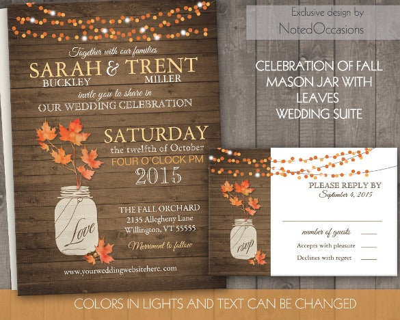 rustic fall second marriage wedding invitation