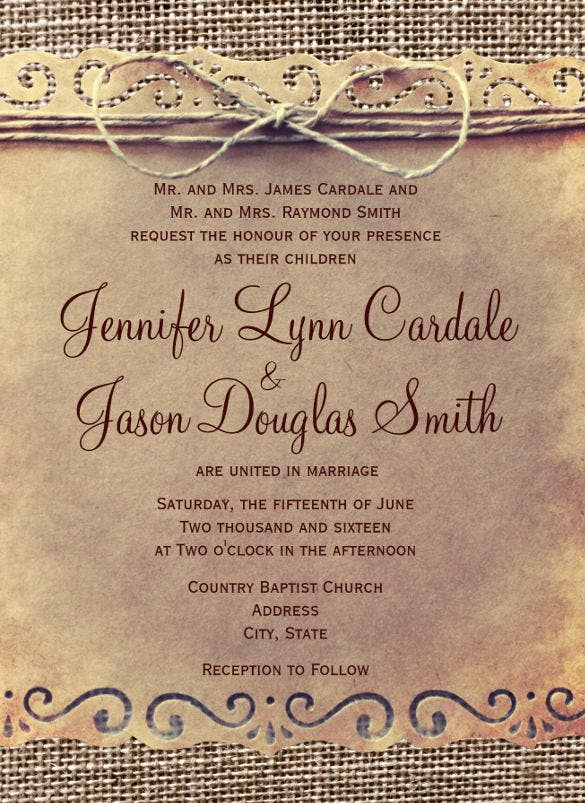 vintage second wedding invitation