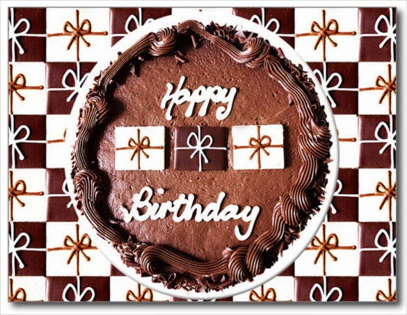 happy birthday chocolate cake postcard