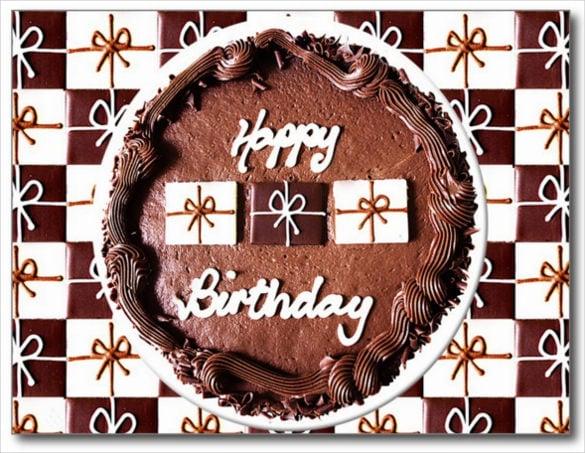happy birthday chocolate cake postcard
