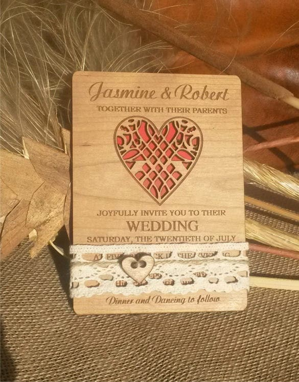 heart shape second wedding invitation