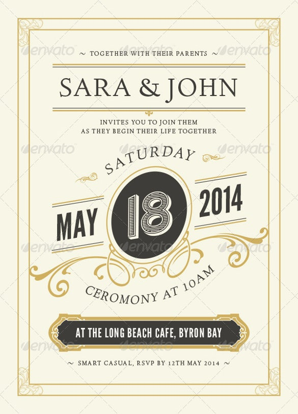 3 colour set second wedding invitation template
