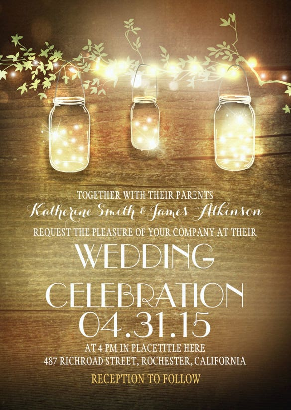 mason jars and lights second wedding invitation