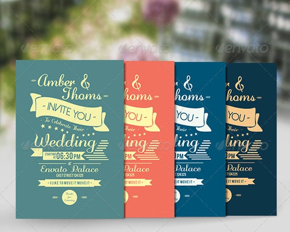 set of four second wedding invitation template