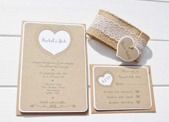 burlap and lace secong marriage wedding invitation