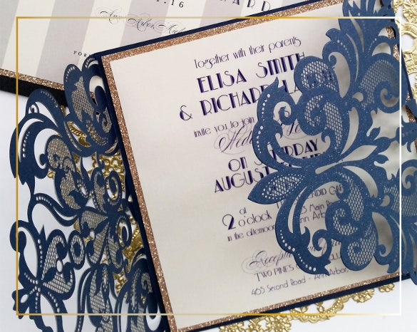 laser cut secong marriage wedding invitation template