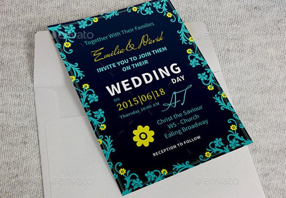 typography second wedding invitation template