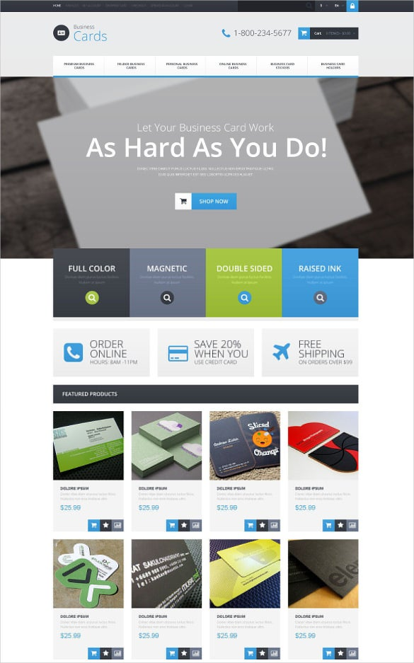 corporate business card opencart template