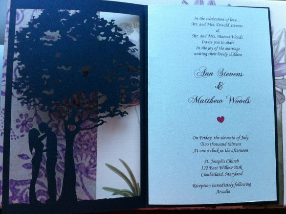 tree love story second wedding invitation
