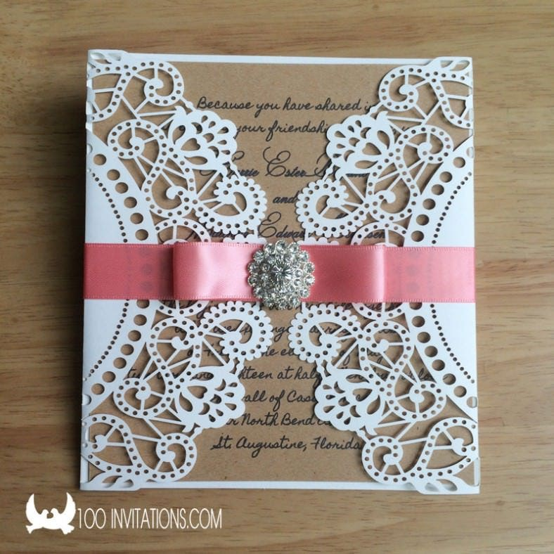 with ribbon rhinestone button second wedding invitation1 788x788