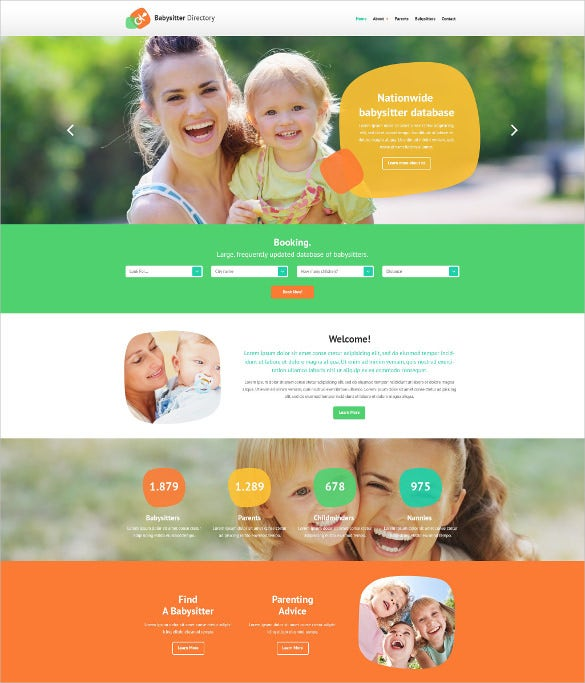 babysitter directory listing website html5 template