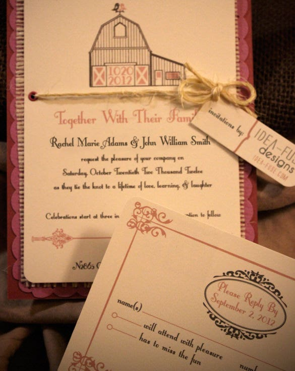 handmade rustic second wedding invitation