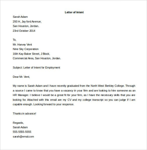 Letter of Intent for a Job Templates – Free Sample, Example Format ...