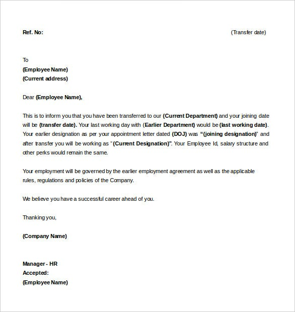 sample of letter of intent for a job transfer template download - Job Opening Letter Of Intent
