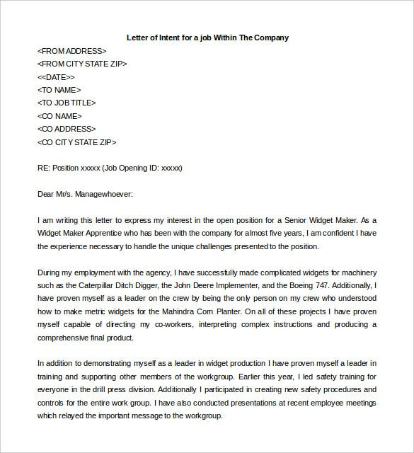 sample letter of intent for a job position within same company - Job Promotion Letter Of Intent