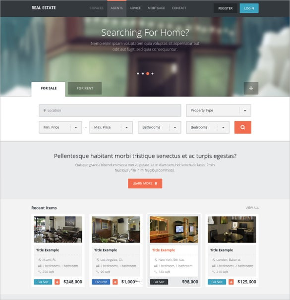 real estate directory listing creative html5 template