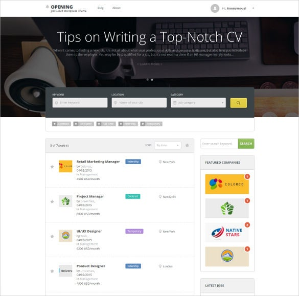 Job Market Directory Listing Wordpress 5 Template