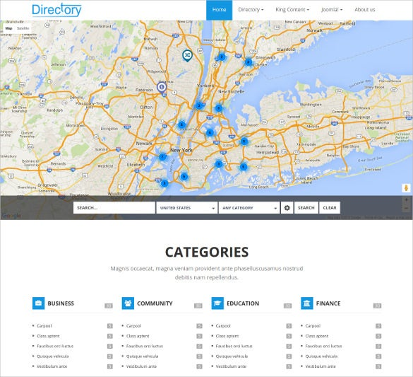 directory listing joomla html5 template