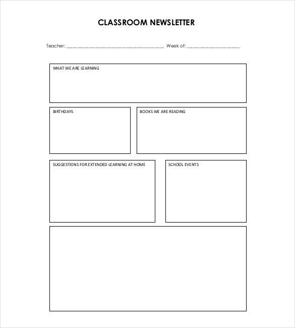 blank teacher newsletter template - Free Editable Newsletter Templates For Teachers