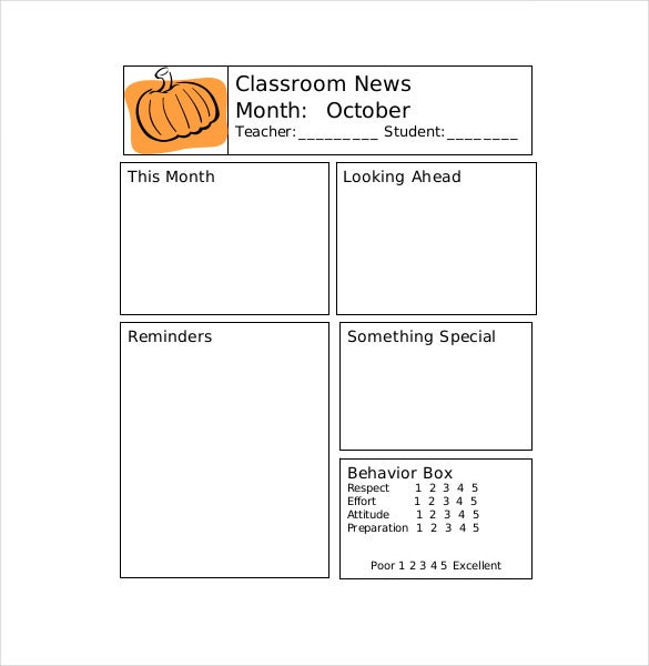 classroom teacher newsletter template