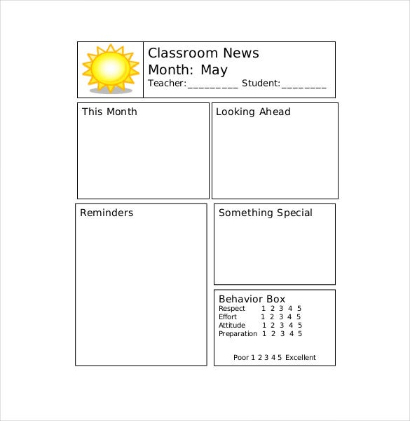 monthly teacher newsletter template