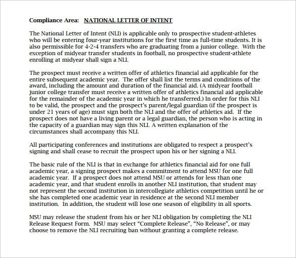university compliance free national letter of intent1