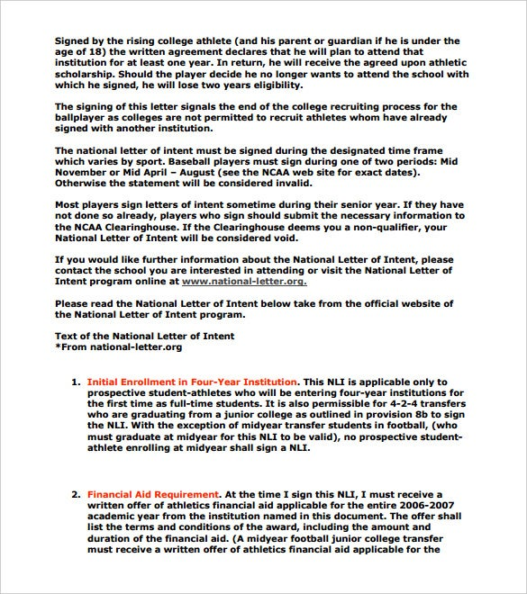 National Letter Of Intent Templates  Free Sample Example