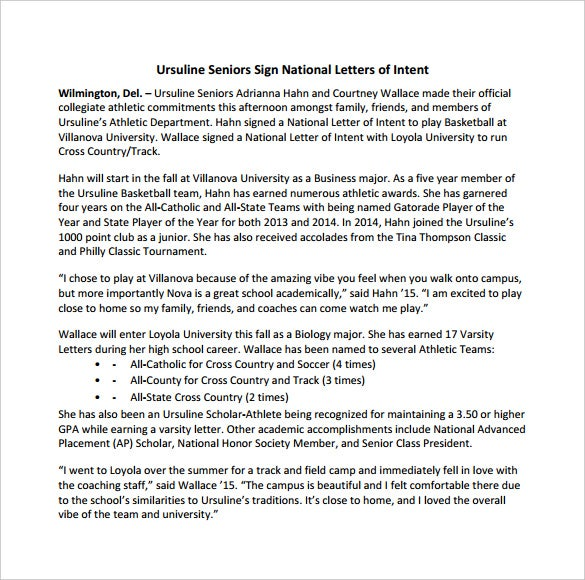 National Letter Of Intent Templates  Free Sample Example Format