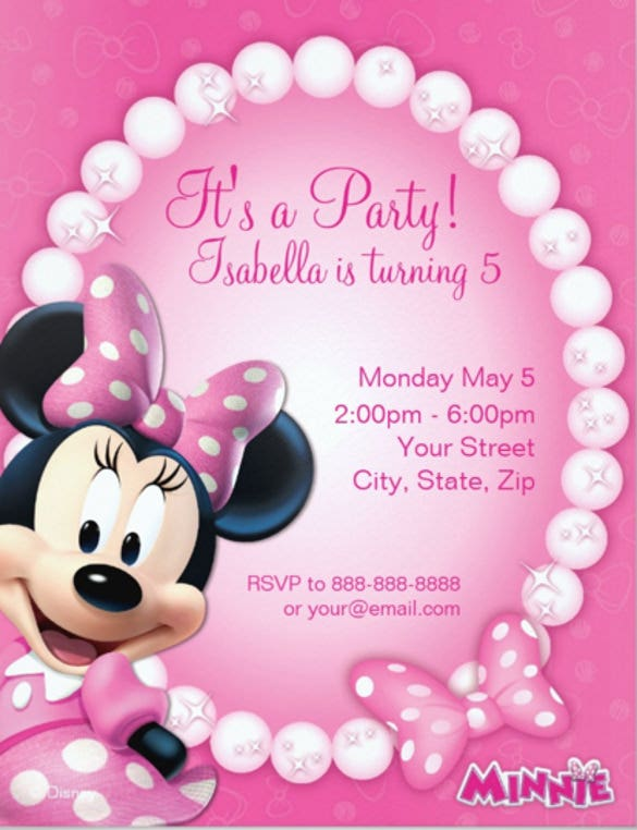 elegant minni mouse invitation card download