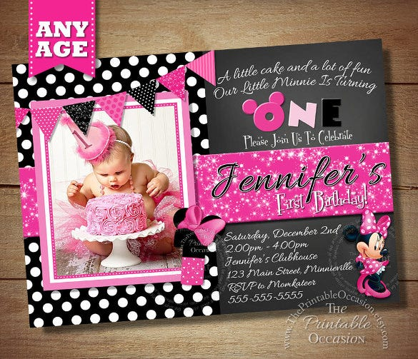black polka dot photo minni mouse invitation