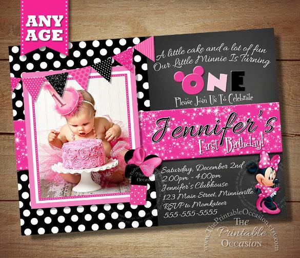 black polka dot photo minni mouse invitation