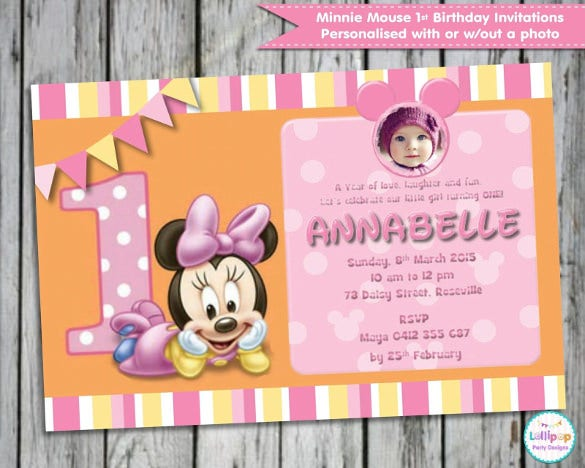 1st birthday minni mouse invitation card download