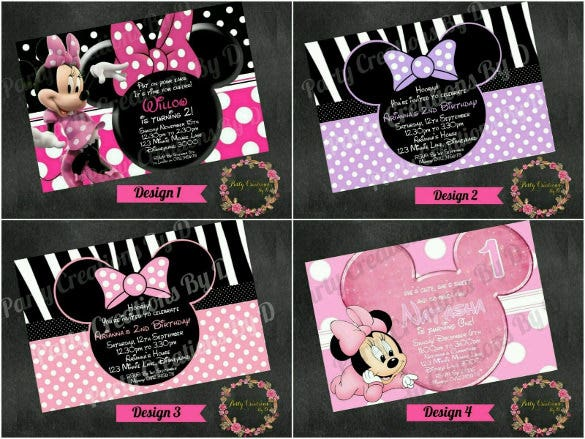 personalised disney style minnie mouse invitation