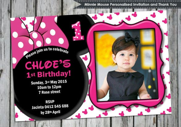 1st photo birthday invitation in minnie mouse style