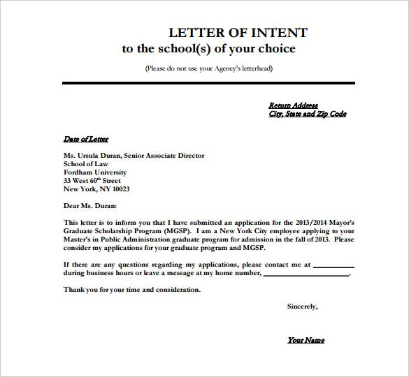 8 School Letter Of Intent Templates Free Sample Example Format – School Application Template
