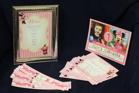 minnie mouse style birthday party invitation bundle