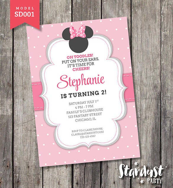printable kids party minnie mouse invitation