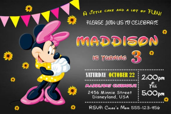 minnie mouse birthday invitation on dark background