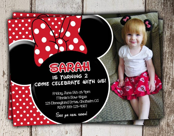 beautiful red minnie mouse photo invitation