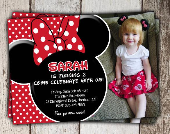 beautiful red minnie mouse photo invitation