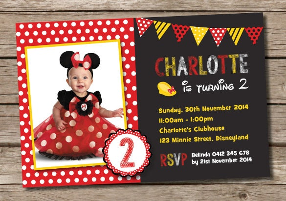 baby girl birthday party minnie mouse invitation