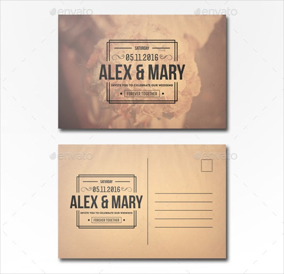 postcard template of photoshop wedding invitation