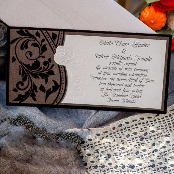 velvet pattern wedding invitation tempalate