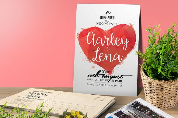 watercolor red heart wedding party invitation template