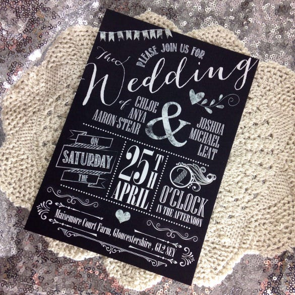 rustic chalkboard wedding party invitation download1