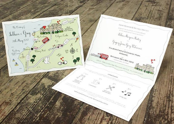 personalised party map wedding party invitation template