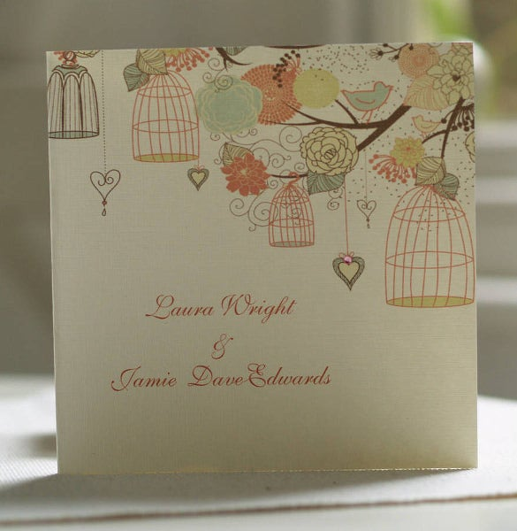 folded hanging vintage birdcages wedding party invitation template