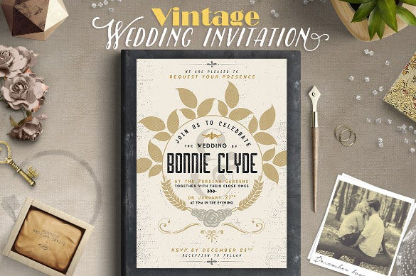 vintage typography wedding party invitation download