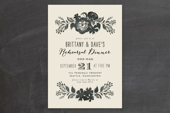 dramatic florals wedding party invitation template