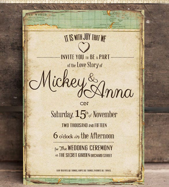 vintage journey wedding party invitation template download